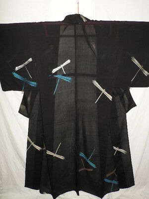 Antique Black Japanese Silk Summer SHA KIMONO w/URUSHI Dragonfly D136
