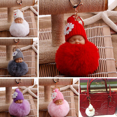 1PC Women Small Flower Ornaments Key Chain Fluffy Ball Baby Doll Fake Fur Gifts