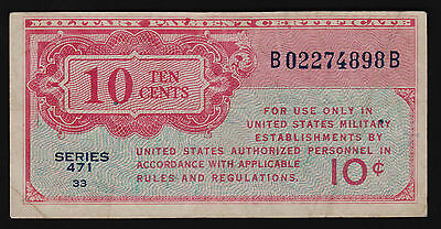 Military Payment Certificate US Series 471 10 cents 1947 P-M9