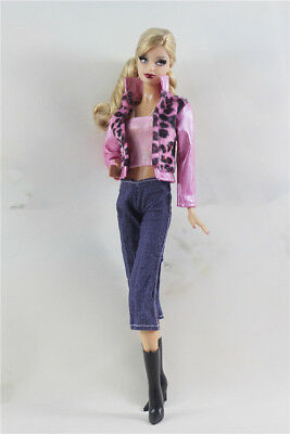 4in1 Set Outfit leopard - print Coat+vest+jean+boots FOR Barbie Doll Clothes K
