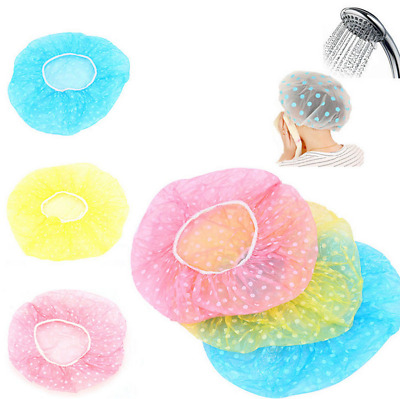 Waterproof Elastic Shower Cap Hat Reusable Bath Head Hair Cover Salon Shower Cap