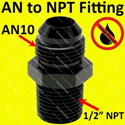 "AN10 10AN Aluminium Straight Male Flare to 1/2"" NPT Fitting Adapter - Black"