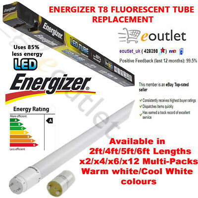 Energizer T8 T12 Led Tube Light Tubes Fluorescent Replacement - 2Ft/4Ft/5Ft/6Ft