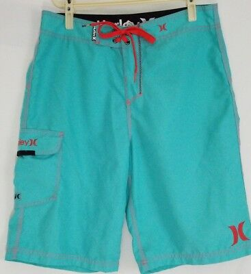 d513a081ea722 HURLEY BOARD SHORTS Men's Aqua Embroidered Swim Trunks Swimsuit Size ...