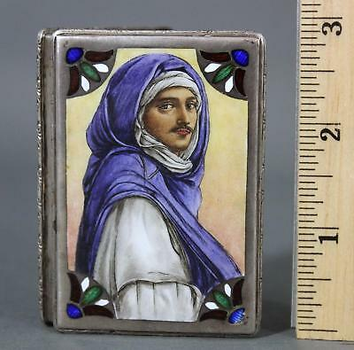 Antique Hallmarked .900 Egyptian Silver Case Box & Arab Portrait Enamel Painting