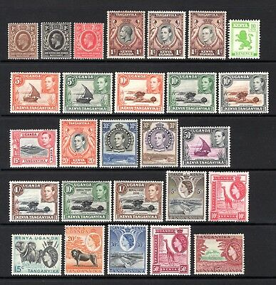 EAST AFRICA EDV11 TO QE11 LIGHTLY + MOUNTED MINT RANGE x 27 STAMPS NOT CAT BY ME