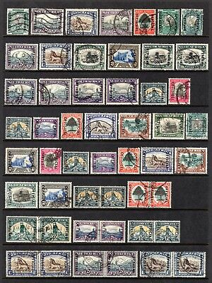 SOUTH AFRICA OFFICIAL OVERPRINTS BI-LINGUAL PAIRS/SINGLES GOOD TO FINE USED x 51