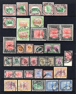 SUDAN 1920's TO 1940's FINE TO VERY FINE USED RANGE OF POSTMARKS x 37 STAMPS
