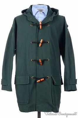 GLOVERALL Green Solid 100% Cotton Hooded Mens Jacket Toggle Coat - MEDIUM