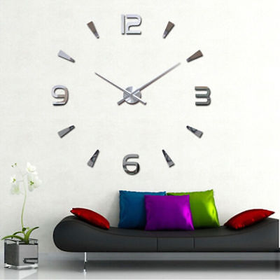 Luxury Diy 3d Large Wall Clock Mirror Surface Sticker Home Office