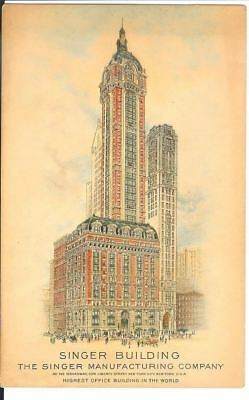 Antique Postcard The Singer Building Singer Manufacturing New York Tallest Bldg