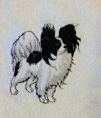 Papillon, Two Towels, Embroidered, Custom, Personalized, Dog, Black and White
