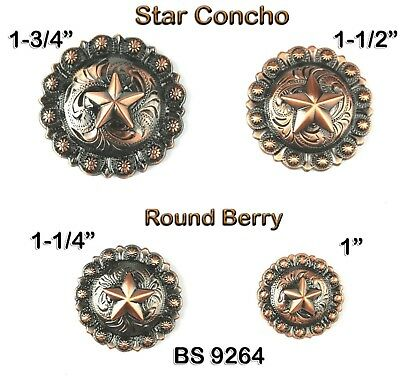 Lot Of 6 Pcs Bs 9264 Copper Round Western Engraved Berry Star Conchos 4 Sizes