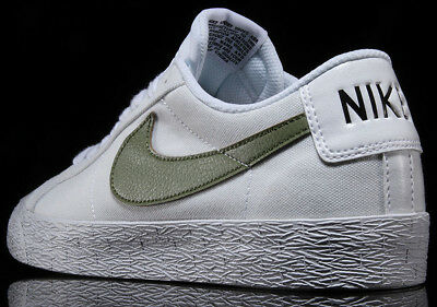 buy popular e26af c3bc3 NIKE SB DUNK BLAZER ZOOM LOW White PalmOlive Green 889053-130 QS Skate