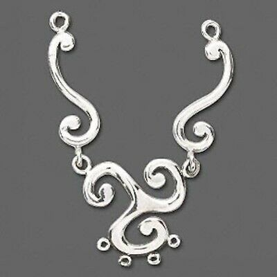 1 Sterling Silver 6-Loop Triangular Swirl Focal Component / 80x20mm *