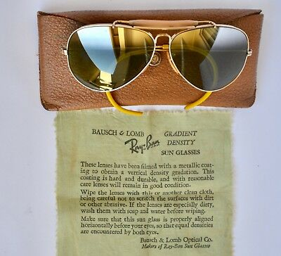B&L RAY BAN USA SUNGLASSES Aviator OUTDOORSMN Top Mirrored Green lenses 58mm EXL