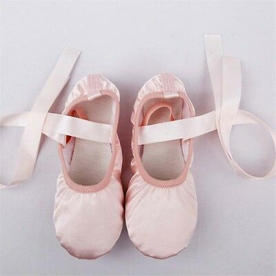 Ladies Kids Pink Ballet Pointe Shoes Professional Satin Dance Toe Shoes
