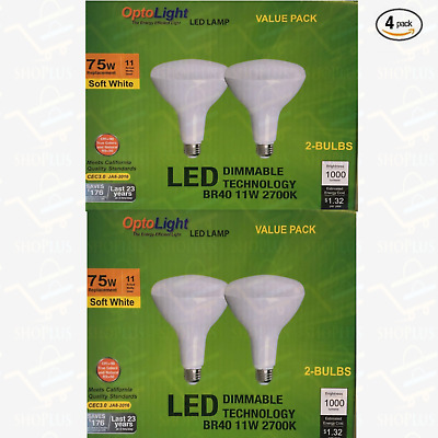 4 pack BR40 LED 15W 2700K Warm White Indoor/Outdoor Flood Light Bulbs 100 Watt