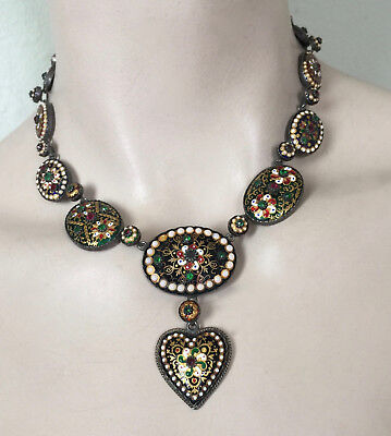 Antique Vintage Victorian Bresse Bressan Enamel Jeweled Necklace French Silver
