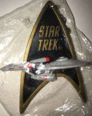 1991 Star Trek Classic Enterprise Logo Black Rubber Key Chain Keychain Sealed