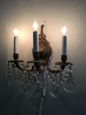 ANTIQUE VTG BRASS X PETITE CHANDELIER SCONCE WALL LAMP  w FRENCH & CZECH CRYSTAL