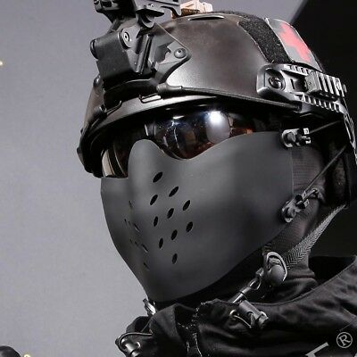 Outdoor Sports Military Hunting Half Face Mask CS Tactical Protective Mask BK