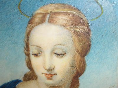 Great Antique 19Thc Madonna Miniature Painting Signed