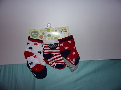 Little Me Girls 12-18 Months 6 Pairs Of Assorted Socks 4th Of July / New