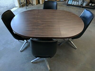 Vintage Original MCM Midcentury Chromcraft Dining Table Set W/ 4 Chairs & Leaf