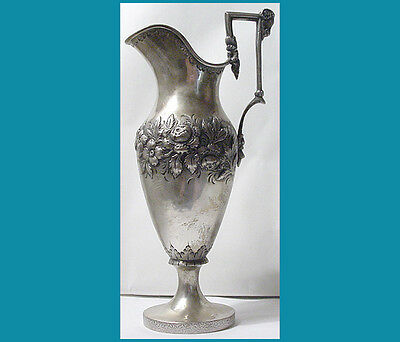 """SOUTH coin silver ram's head PITCHER unmarked 9"""" without handle"""