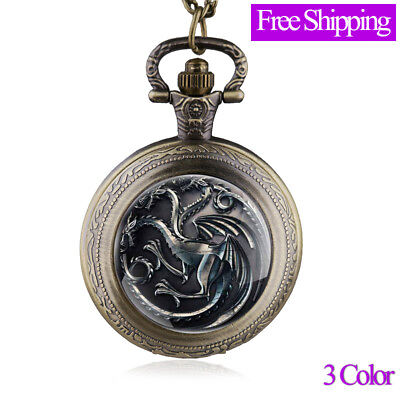 Antique House Targaryen Thrones Pocket Watch Pendant Necklace Jewelry Watches
