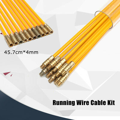 10Pcs 15FT Fiberglass Running Cable Wire Kit Coaxial Electrical Cable Installing