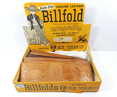Tex Tan Leather Wallets Store Display c1960 with 5 Pinto Child Unused Wallets