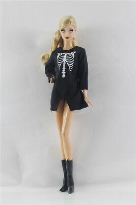 Fashion Black dress skirt  Outfit+Boots  FOR Barbie Doll Clothes