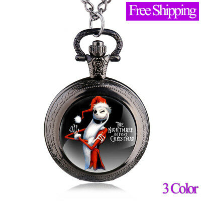 Antique Nightmare Before Christmas Pocket Watch Vintage Pendant Necklace Gift