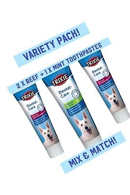 3 x **MULTIPACK** Dog Toothpaste Mint or Beef 100g FRESH BREATH Hygiene Prevent