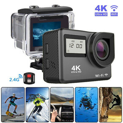 4K 2.4G 12MP 30M Waterproof Sports DVR Action WiFi Camera Dual Screen Camcorder
