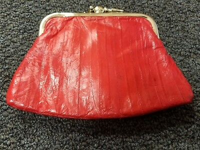 Vintage Eel Skin Kiss Lock Coin Purse Change Wallet