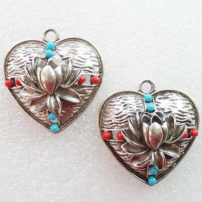 2pcs Carved Tibetan Silver inlay Turquoise Heart Pendant Bead R5654