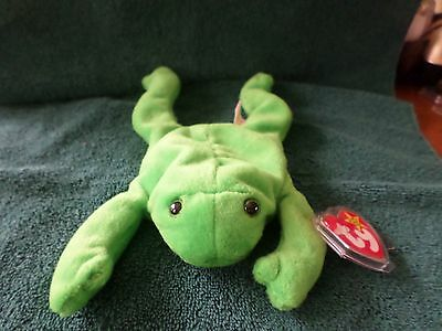 Mwmt Many Errors Ty Beanie Baby Legs The Frog Pvc Pellets Mint With Mint Tag