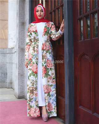 Dubai Open Cardigan Islam Abaya Floral Dress Women Kaftan Prayer Maxi Robe  Arab 9047c991d94