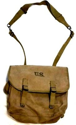US ARMY MUSETTE BAG Mussette Bag 1944 WW2 KHAKI Canvas World War 2 WWII Knapsack