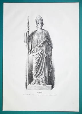 MINERVA Goddess Statue at Capitoline Museum in Rome - 1876 Antique Print