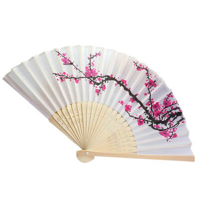 Chinese Plum Blossom Flower Vintage Folding Hand Held Fan Dance Party Decoration