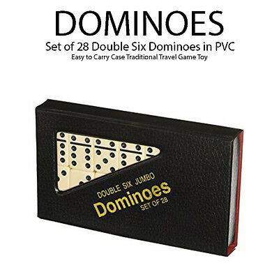 New Dominoes Set Of 28 Double Six In Pvc Carry Case Traditional Travel Game Toy