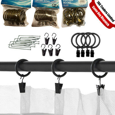 Curtain Rings Hooks Strong Metal Curtain Pole RodRings With Clips Or Eyes Hooks