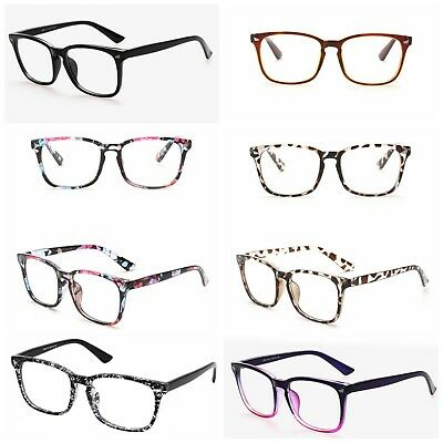 Mens Womens Clear Lens Square Frame Vintage Retro Fashion Geek Glasses UK Stock