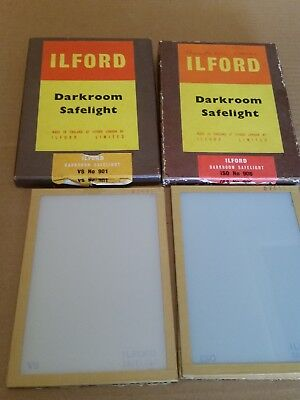 """Two Ilford Darkroom Safelight  No. 901 and No. 906 7"""" x 5"""""""