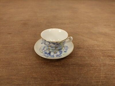 TEA CUP SAUCER Ceramic MINI VTG Napco Hand Painted COLLECTION Blue White Floral