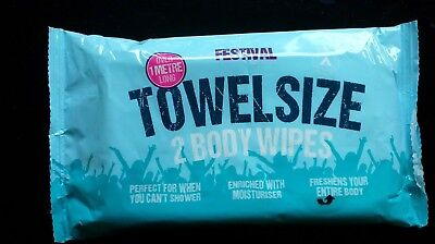 Festival Towel Size Body Wipes Over 1 Meter Long 2 Wipes in Pack Alcohol Free